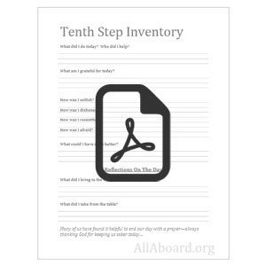 Worksheet 10th Step Inventory Worksheet all aboard stepwork sheets tenth step step